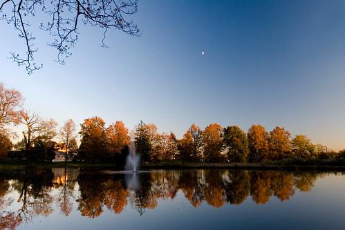 blue autumn trees sky lake reflection nature landscape photoblog