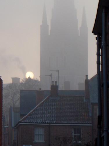 england mist sunrise cathedral norwich whereinnorwich thechallengegame
