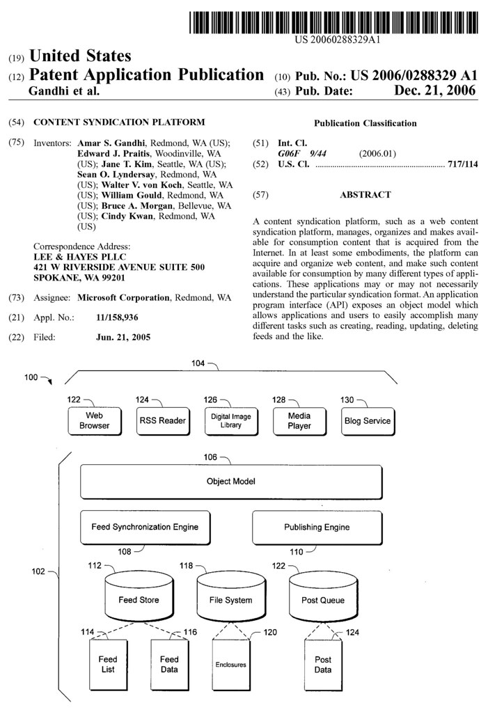 Microsoft Content Syndication Platform patent application
