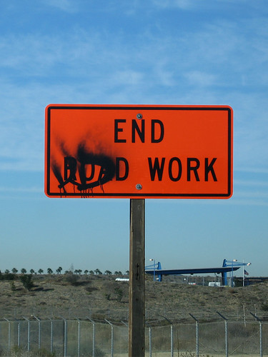 "Slacker vandalism? ""END WORK"""