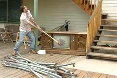 outdoor structure(0.0), roof(0.0), log cabin(0.0), carpenter(0.0), floor(1.0), wall(1.0), wood(1.0), handrail(1.0), lumber(1.0), hardwood(1.0), stairs(1.0), flooring(1.0),