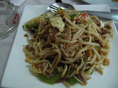 vegetarian food(0.0), produce(0.0), noodle(1.0), meal(1.0), lunch(1.0), mie goreng(1.0), bakmi(1.0), fried noodles(1.0), lo mein(1.0), pancit(1.0), thai food(1.0), spaghetti(1.0), char kway teow(1.0), food(1.0), dish(1.0), yakisoba(1.0), chinese noodles(1.0), yaki udon(1.0), pad thai(1.0), cuisine(1.0), chinese food(1.0), chow mein(1.0),