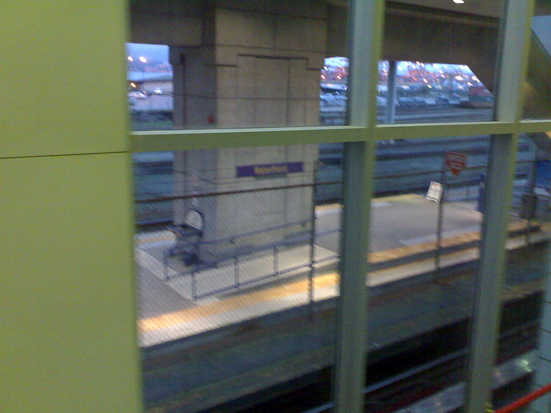 Accessible Ramp at an Empty Waterfront West Coast Express Station