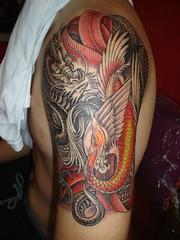 dragon with the swan tattoo (Dejavu Tattoo Studio Chiangmai Thailand)