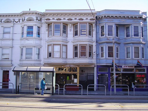 Transit stop and Victorian flats, Church Street, San Francisco