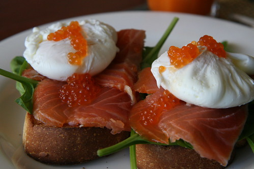 Poached eggs and smoked salmon