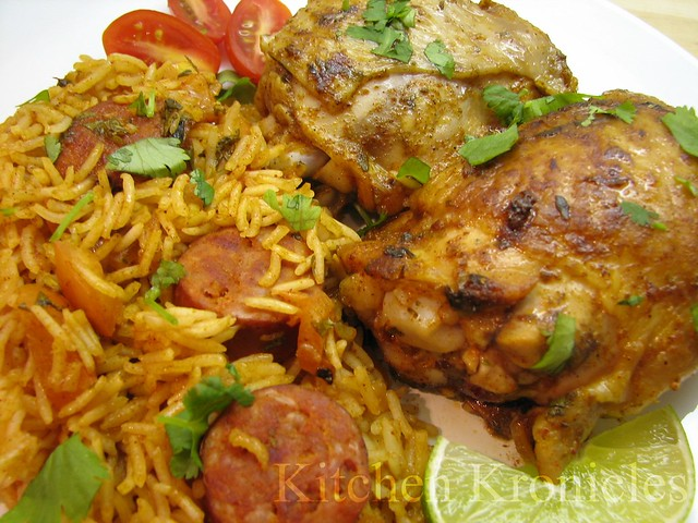 Cuban-Spiced Chicken with Saffron Rice | Chicken marinade ...