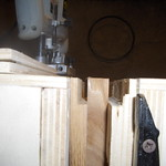 Jig with piece of wood to tenon ready