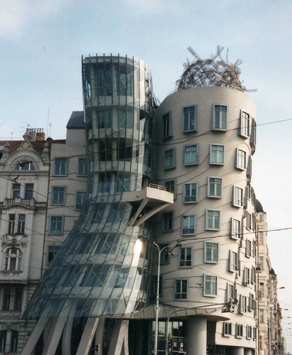 Dancing House, the famous twisting building in Prague city