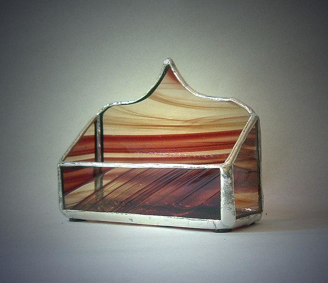 Brown Baroque Stained Glass Business Card Holder