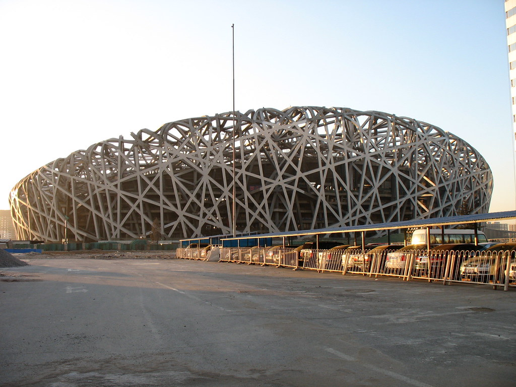 Beijing birds nest olympic stadium for Nest bird stadium