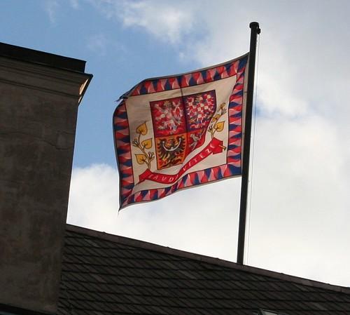 """President's Flag on Prague Castle """"Truth prevails"""""""