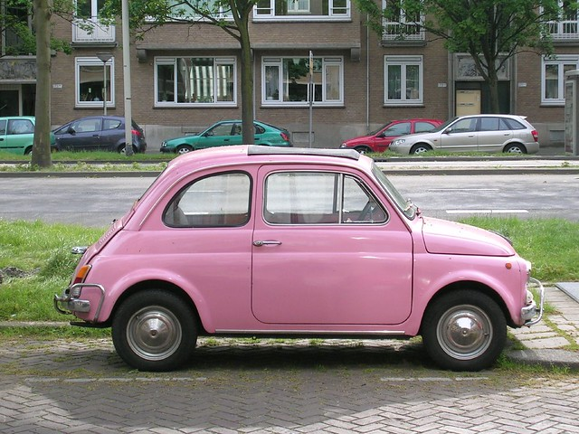 pink cadillac nah better still a frigging fiat 500 flickr photo sharing. Black Bedroom Furniture Sets. Home Design Ideas