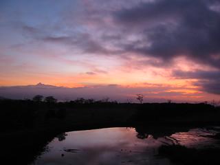 Sunrise in Aberdares, Mount Kenya at left