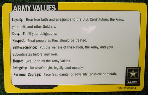 7 core army values Covers the army values, empathy and the warrior ethos, as well as the role of ethics chapter 4 on leader  core leader competencies no longer a formally defined term.