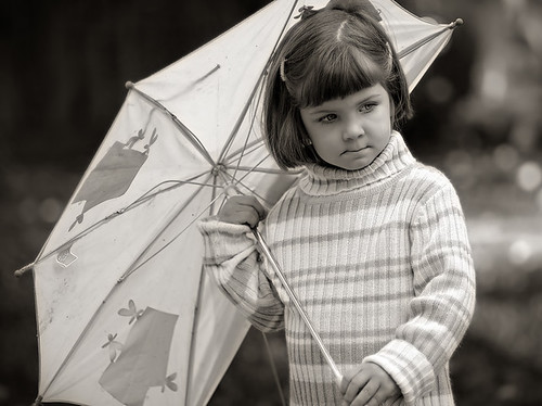 Maren with tattered umbrella