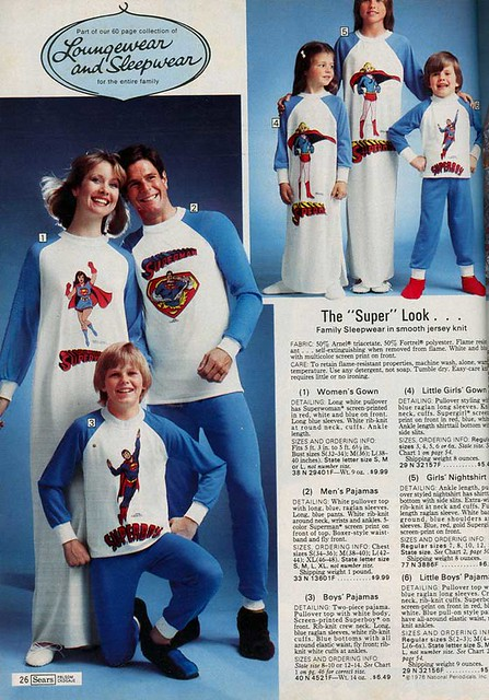 1976 [Sears] Wishbook Page Superman Sleepwear for the Whole Family