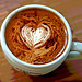 latte heart with cocoa