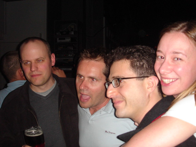MediaTemple Party: Dan Cederholm, John Allsopp, Tantek Celik and Angela Baxley get their chat on between rounds. Photo @sfegette February 9, 2007 Downtown, Vancouver, BC, CA
