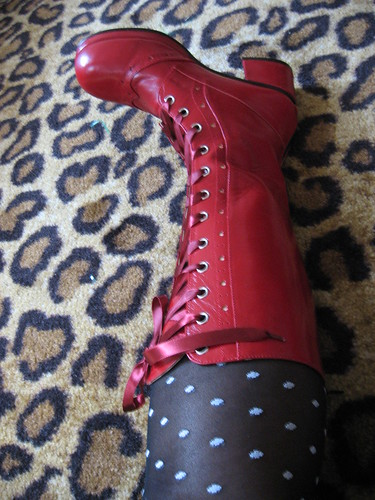Side view of Rose Chocolat boots.