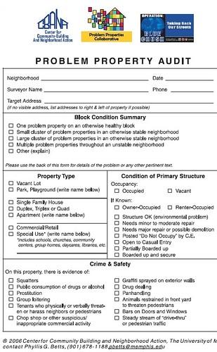 Problem Property Audit, page 1 - University of Memphis