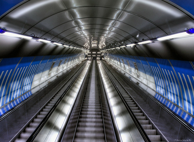 Escalator at Ladvi metro station, Prague
