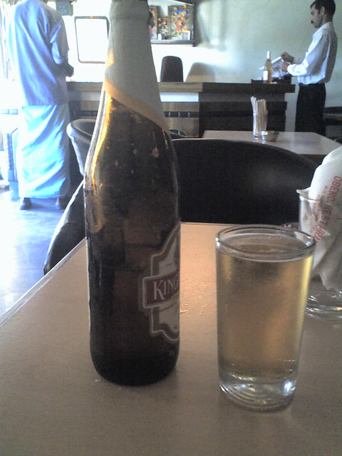 Beer in a dark brown bottle