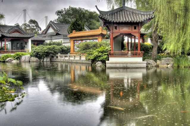 Chinese garden pagoda and koi pond flickr photo sharing for Chinese koi pond