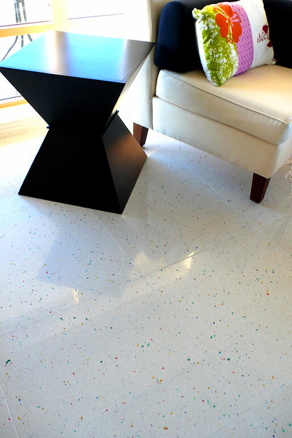 Whitewashed Tile Floor In Kitchen