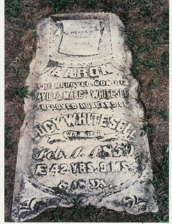 Gravestone for Aaron Whitesell husband of Lucy Whitesell