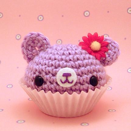 Amigurumi purple cupcake bear with flower Flickr - Photo ...