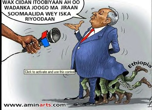 Somali cartoon mocking the US-backed Ethiopian invasion of the country. At present the occupiers are demanding the disarming of the Somali masses. by Pan-African News Wire File Photos