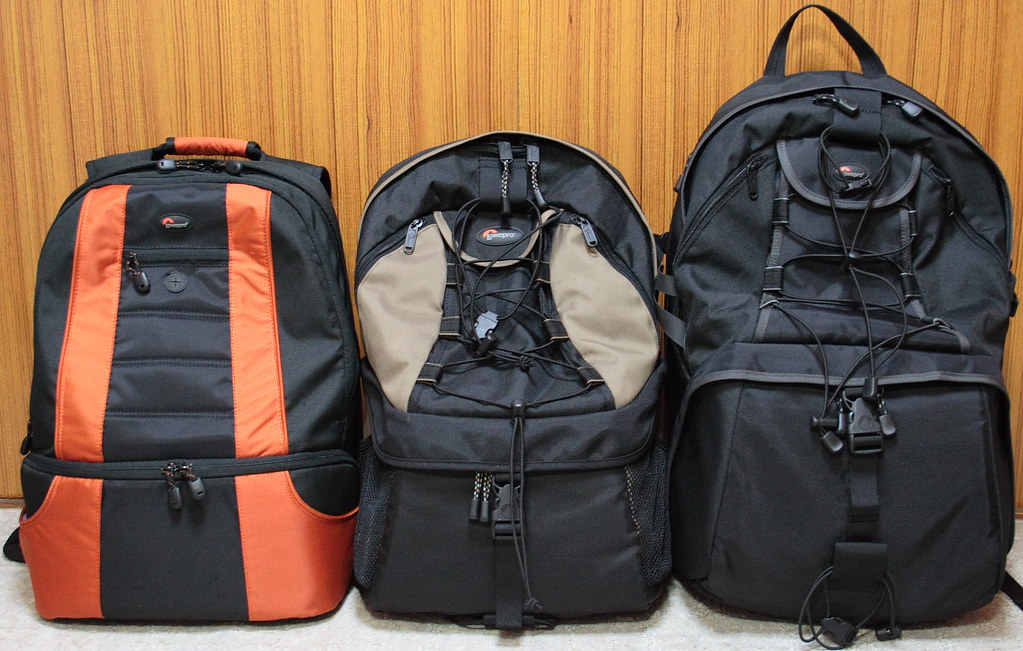 Three Lowepro's 2 or 3 compartment backpacks (Front)