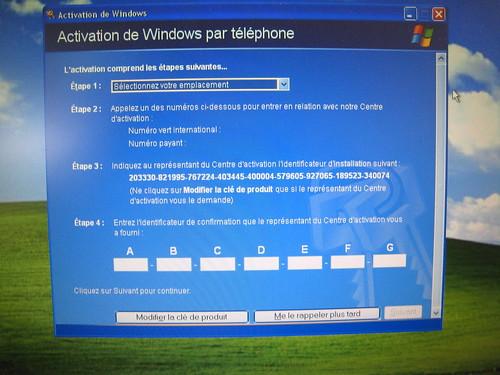 activation de Windows XP
