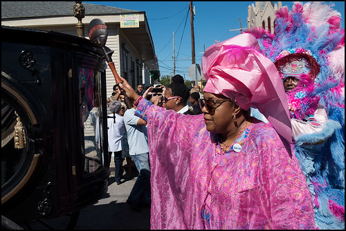 Cherice Harrison and Spy Boy Horace of Creole Wild West honor Edwin Harrison during his funeral second line on October 21, 2016 in Treme. Photo by Ryan Hodgson-Rigsbee - rhrphoto.com