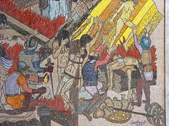 ...Creadores de la Nacionalidad - detalle - César Rengifo  Destacado pintor y dramaturgo venezolano. Cursó estudios en la Academia de Bellas Artes entre 1930 y 1935. En 1936 consiguió una beca para especializarse en pedagogía de las artes plásticas en Santiago de Chile; para luego viajar a ciudad México para inscribirse en la Academia de San Carlos, donde estudia las técnicas del muralismo de 1937 a 1938. Durante su estadía en la capital mexicana, Rengifo fue influido de manera significativa por la obra de Diego Rivera, alcanzando un estilo que se apartó de la preceptiva de la Escuela de Caracas y dio relevancia al mensaje social de la pintura, gracias a un realismo fundado en una temática rural suburbana para el que adoptó una técnica que, por el empaste liso y sus efectos de relieve y claroscuro obtenidos con los tonos sombríos, se aproxima a la de los primitivos italianos. En 1939, a su regreso a Venezuela, realizó en el Museo de Bellas Artes su primera exposición individual, a la vez que se revelaba como un importante autor teatral del género realista. Sin embargo, la primera gran exposición pictórica realizada por Rengifo no llegaría sino hasta 1947, también en el Museo de Bellas Artes. En 1954 obtuvo el Premio Nacional de Pintura y entre 1955 y 1956 realizó el vasto mural en mosaico Amalivaca, que narra el mito caribe de la creación del mundo y el cual se halla en la plaza Diego Ibarra, en Caracas. Por encargo de la Comisión del Sesquicentenario de la batalla de Carabobo, del Ministerio de la Defensa, realizó en 1973 el mural Creadores de la nacionalidad, ubicado en el Paseo de Los Próceres de Caracas.   Intentó establecer una profunda conexión entre el sentido de las imágenes simbólicas y el fondo de la realidad del destino y la identidad del venezolano, así como sus frustraciones y esperanzas. En su rol de creador teatral, además de su labor pedagógica realizada en este campo, fue autor de 40 piezas, casi todas publicadas y montadas en Venezuela y el exterio