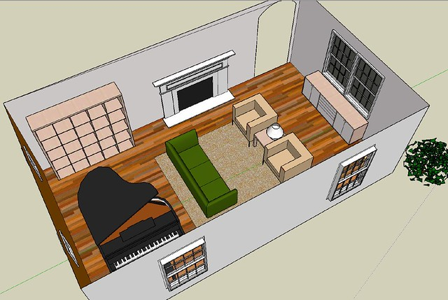 living room playing around with google sketchup flickr photo sharing. Black Bedroom Furniture Sets. Home Design Ideas