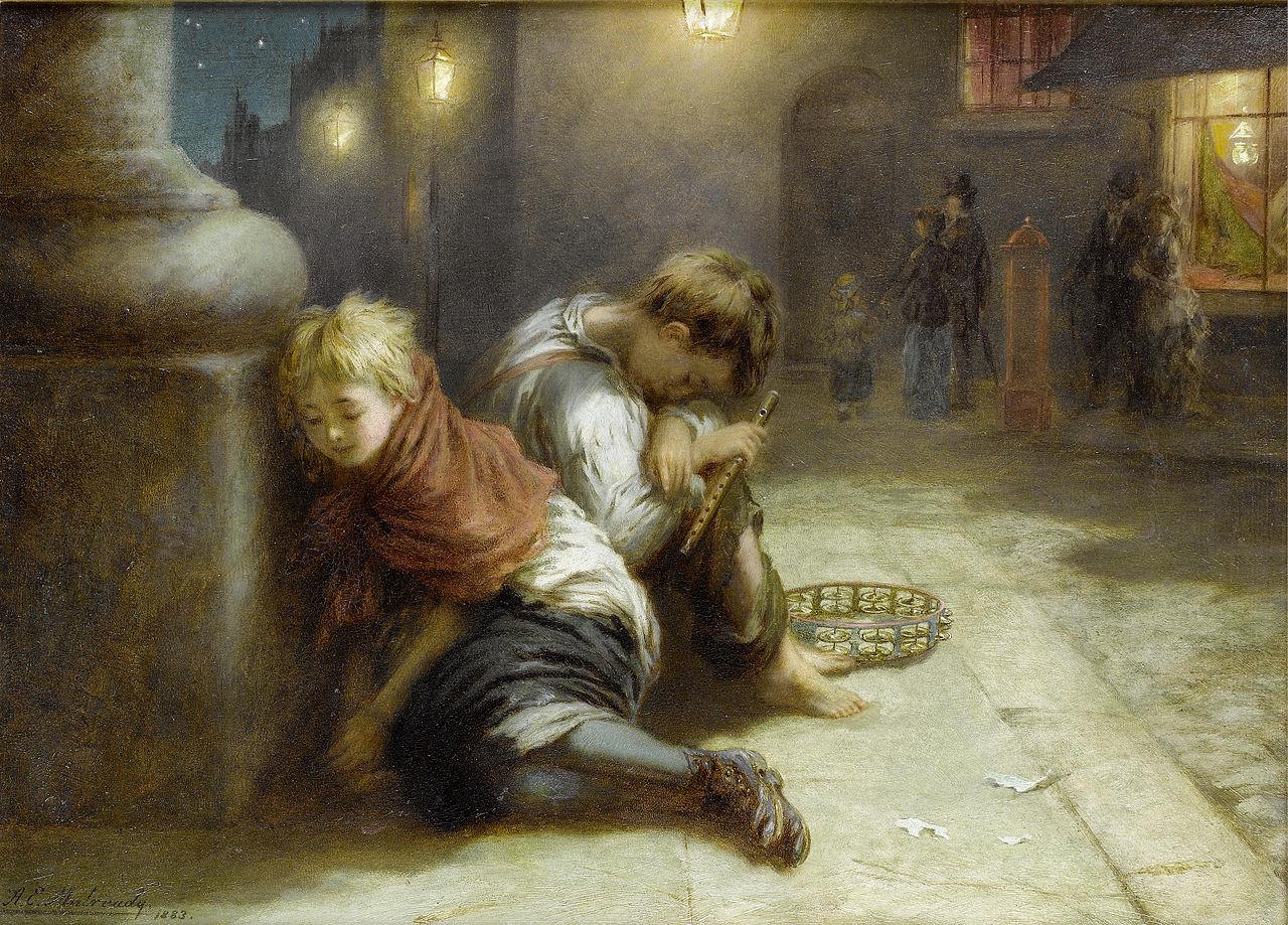 Fatigued Minstrels by Augustus Edwin Mulready, 1883