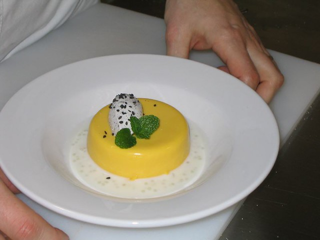 Mango pudding, coconut tapioka sauce, black sesame chantilly | Flickr ...