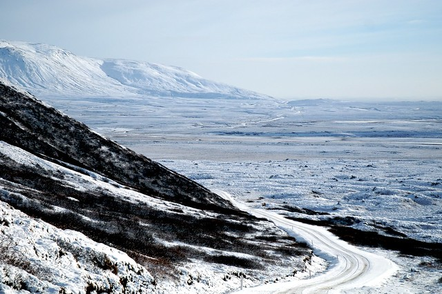 across the snowy mountains to geysir