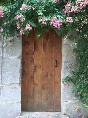 wooden door with flowers