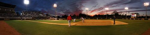 sunset sky panorama college sports photoshop nc baseball dusk northcarolina ps panoramic photomerge ncaa greenvillenc pittcounty clarkleclairstadium ncpedia