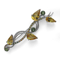 yellow, jewellery, diamond, gemstone, brooch,