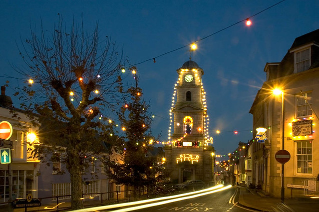 Christmas lights - Penryn, with a dirty lens