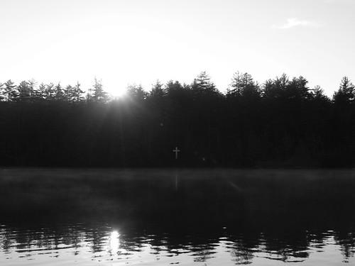 lake sunrise dawn cross winterlight kanuga
