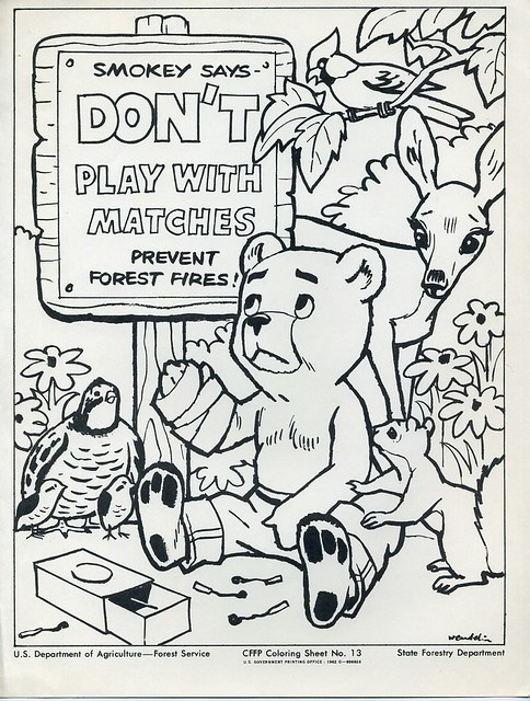 Smokey the bear coloring sheet flickr photo sharing for Smokey the bear coloring pages