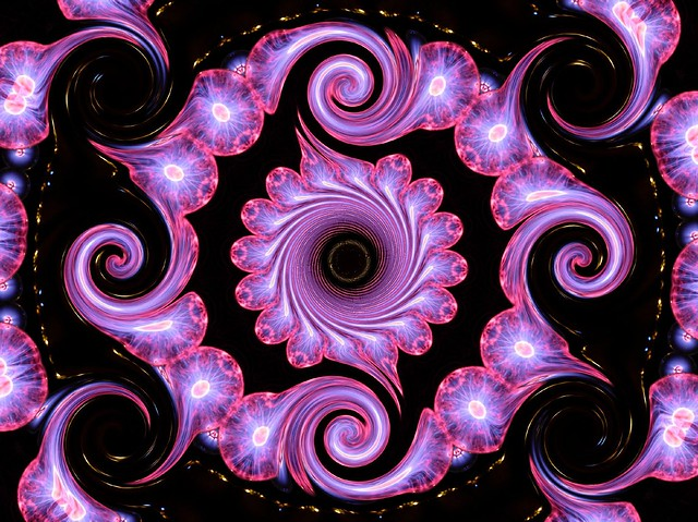 Purple electric light spirals