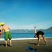 stretching on china beach by lomokev