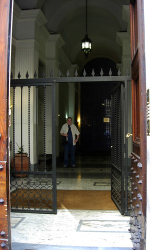 John at the entrance to Hotel Sant'Angelo
