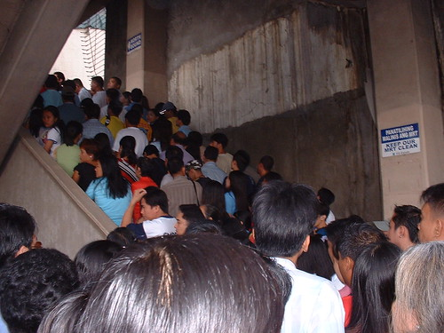 typical 8 am rush at the MRT